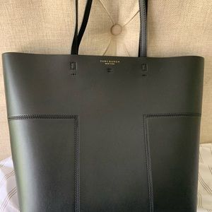 Tory Burch Black T Leather Tote